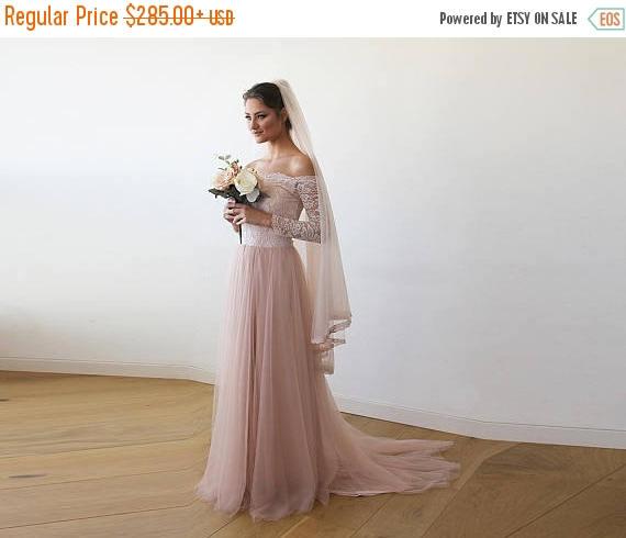 زفاف - Oscar Sale Pink Off-The-Shoulder Wedding Lace and Tulle Train, Pink Wedding Gown with  Lace and Tulle Train 1162