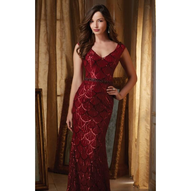 Mariage - Wine Beaded Mesh Gown by MGNY by Mori Lee - Color Your Classy Wardrobe