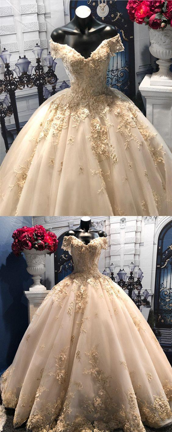 Свадьба - Light Champagne Tulle Ball Gowns Wedding Dresses Lace V-neck Off-the-shoulder