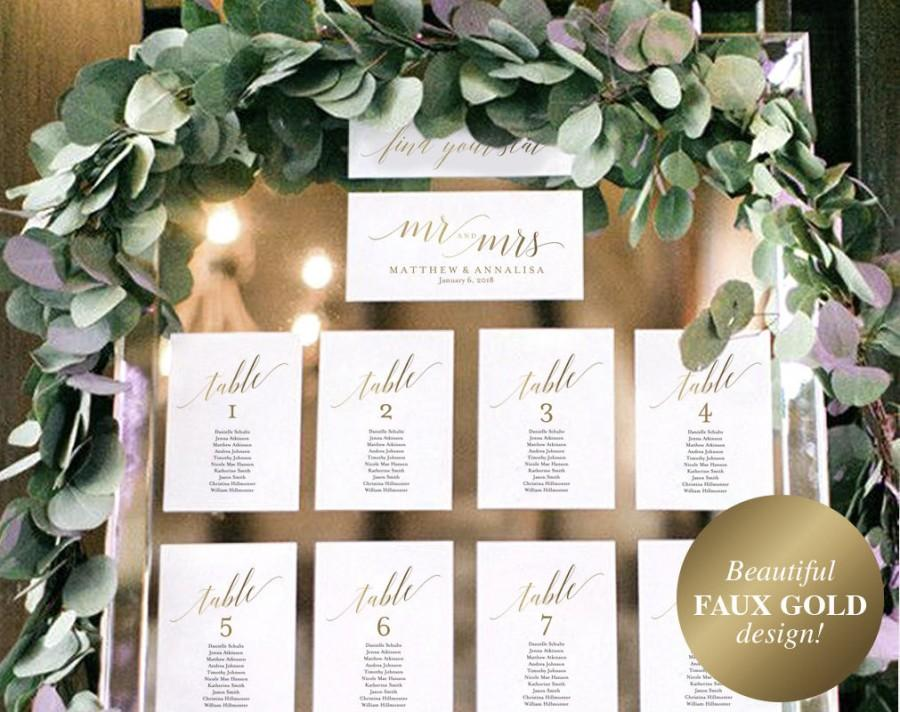 faux gold wedding seating chart template seating chart display