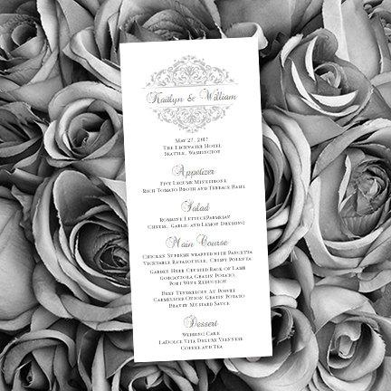 Printable Silver Wedding Menu Template In Grace Design Editable Worddoc Instant Download ALL COLORS Available DIY You Print
