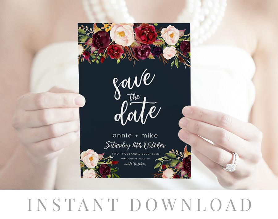 Save The Date Instant Download Wedding Invite Diy Printable Save