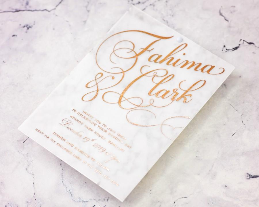 Hochzeit - Rose gold Marble, Diana the rose gold and marble wedding invitation, vellum invitation, marble invites, calligraphy invite, rose gold foil