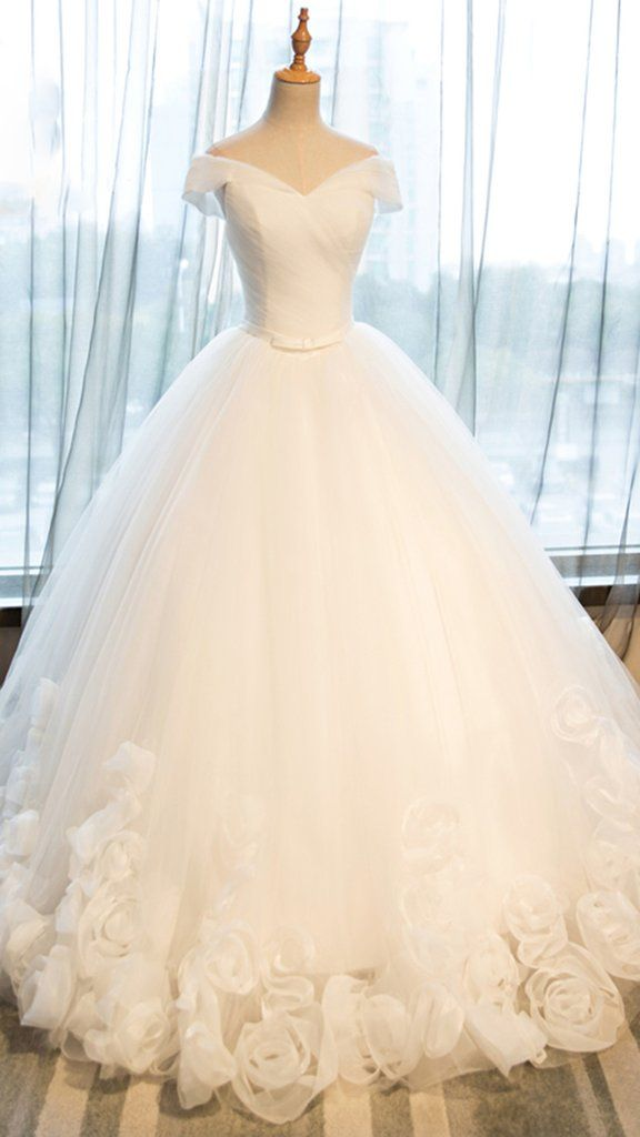 زفاف - White Organza Off-shoulder Wedding Dresses ,ball Gown Dress