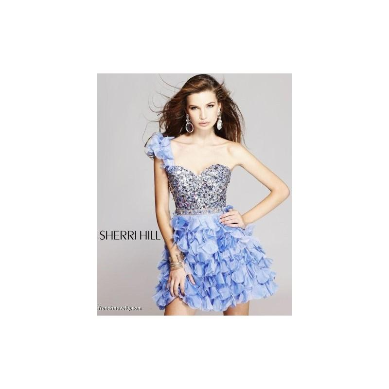 Hochzeit - Sherri Hill One Shoulder Ruffle Short Prom Party Dress 8423 - Brand Prom Dresses