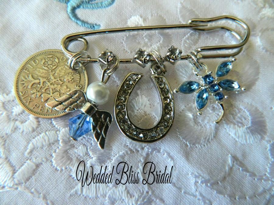 Mariage - Something old -Something New - Something Borrowed - Something Blue - Brides keepsake Pin