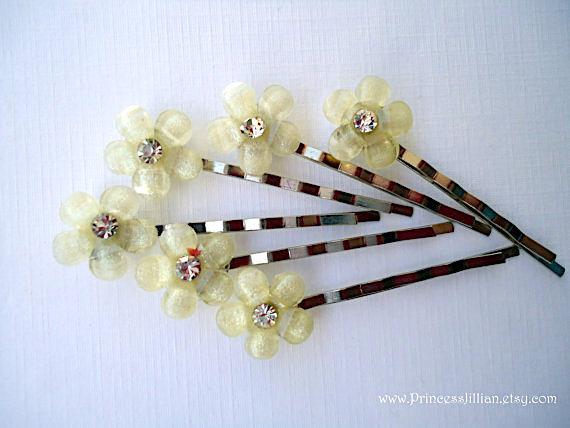 Mariage - Bridal Cabochon bobby pin - Petite silvery champagne glitter and ebony black flower rhinestone decorative embellish jewel hair accessories