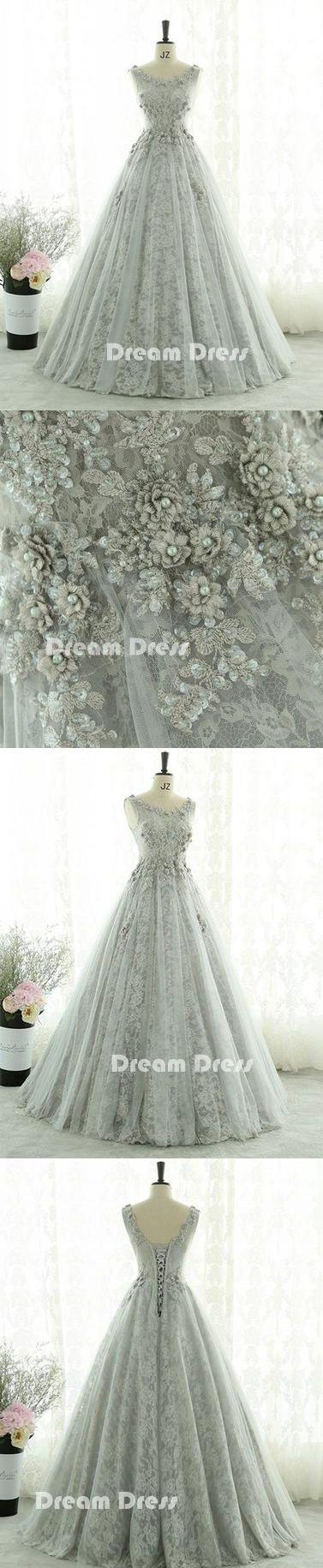 زفاف - Gray Lace Tulle Long Prom Dresses, Gray Evening Dresses,PD1802010