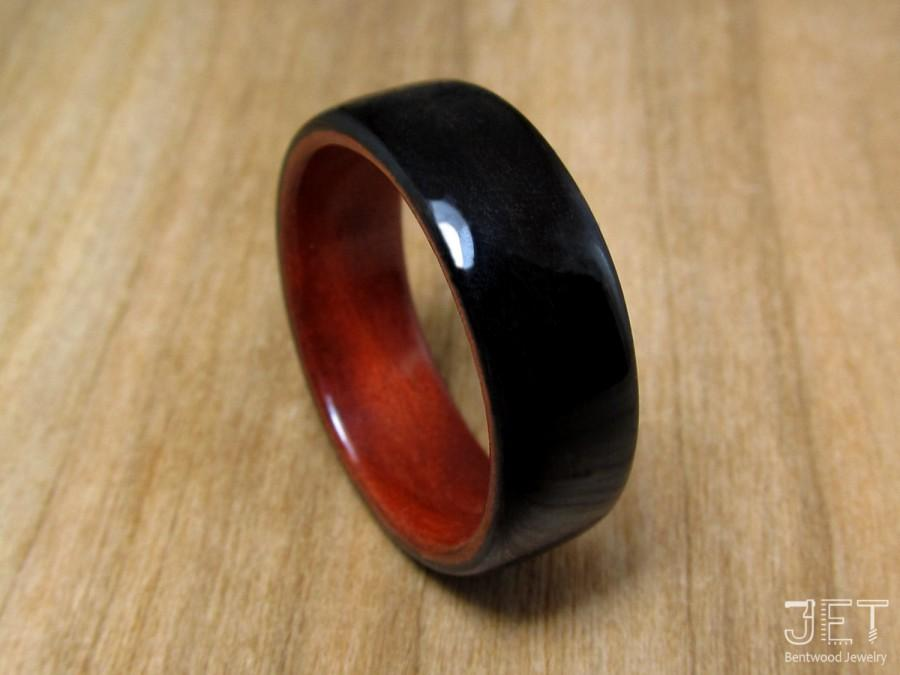 Mariage - Bentwood Ring. Ebony Lined with Chakote Kok-Red Heart Wood, Natural Wooden Ring. Impressive and extremely durable steam bent wood ring.