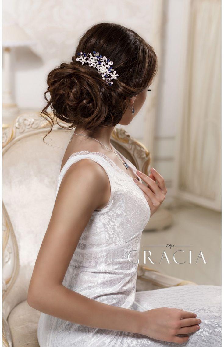 زفاف - ERIKA Royal Blue Crystal Bridal Hair Comb With Pearl Something Blue