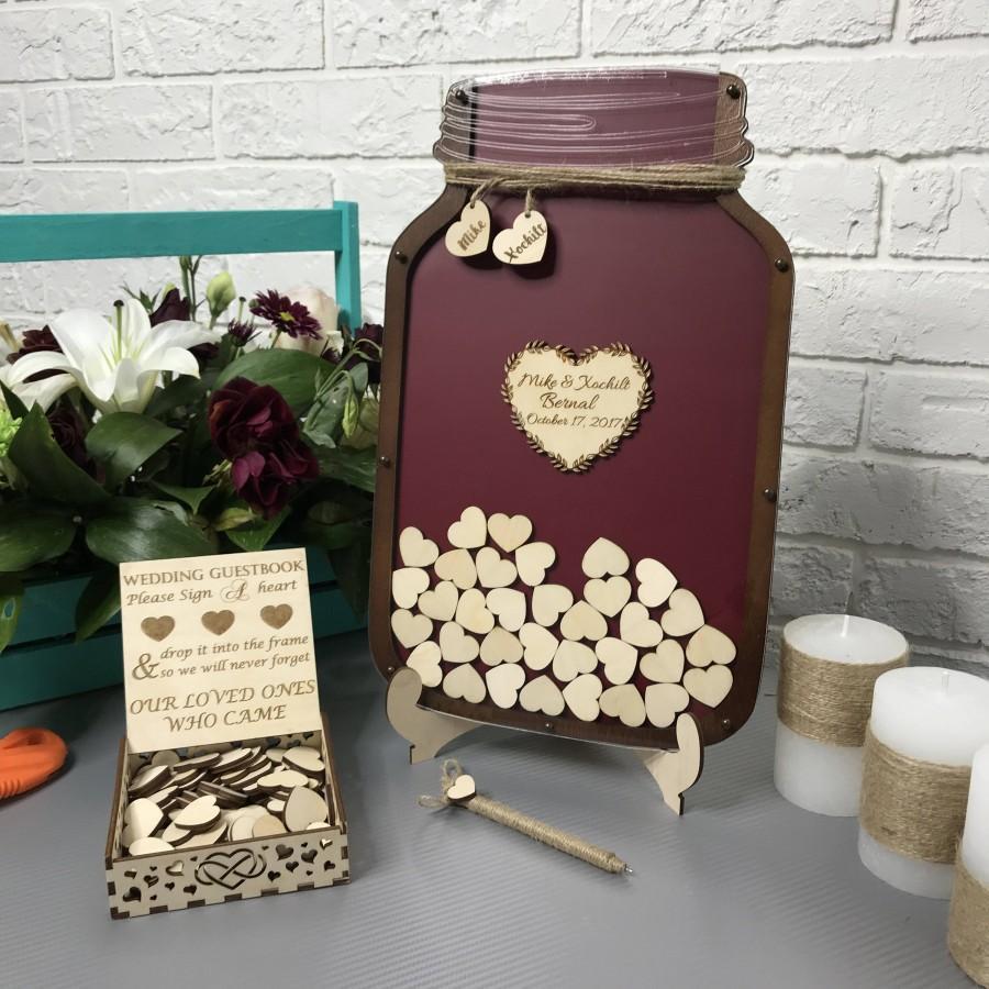 Wedding Guest Book, Alternative Guestbook, Mason Jar Drop Box ...
