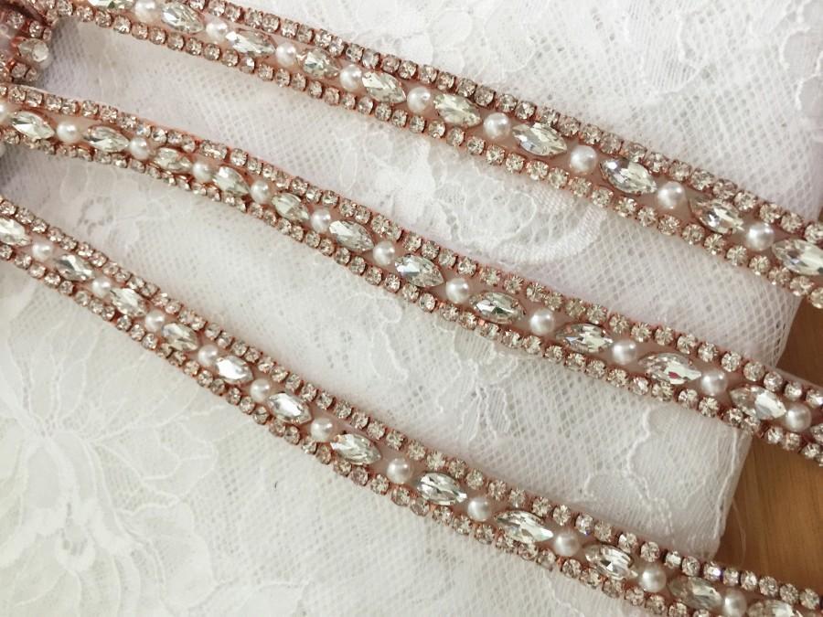 Rose gold thin rhinestone pearl beaded trim for wedding for Wedding dress trim beading