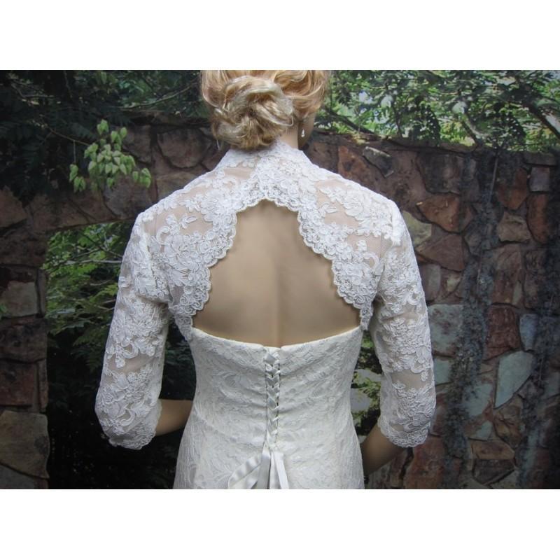 Hochzeit - Sale -Ivory 3/4 sleeve lace bolero wedding jacket with keyhole back - was 129.99 - Hand-made Beautiful Dresses