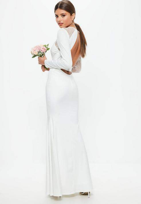 زفاف - Bridal White Long Sleeve Plunge Open Back Lace Insert Maxi Dress