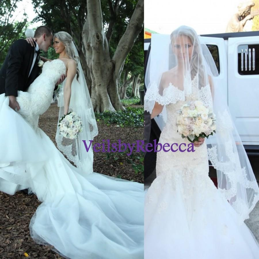 2 Tiers Chantailly Lace Drop Veil ,blusher Lace Veil, Waltz Lace ...