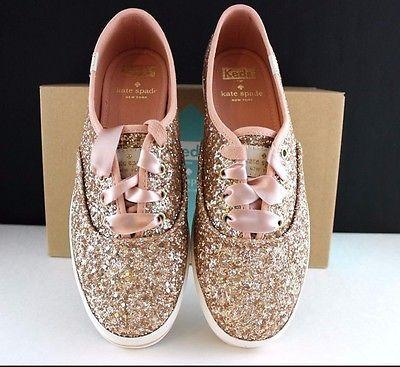 Kate Spade Keds Sneakers Kick Rose Gold Glitter Shoes Pink Ribbon NEW In  The BOX 33484931b