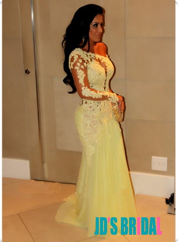 Wedding - JOL178 yellow sexy sheer open back lace one shoulder long prom dress