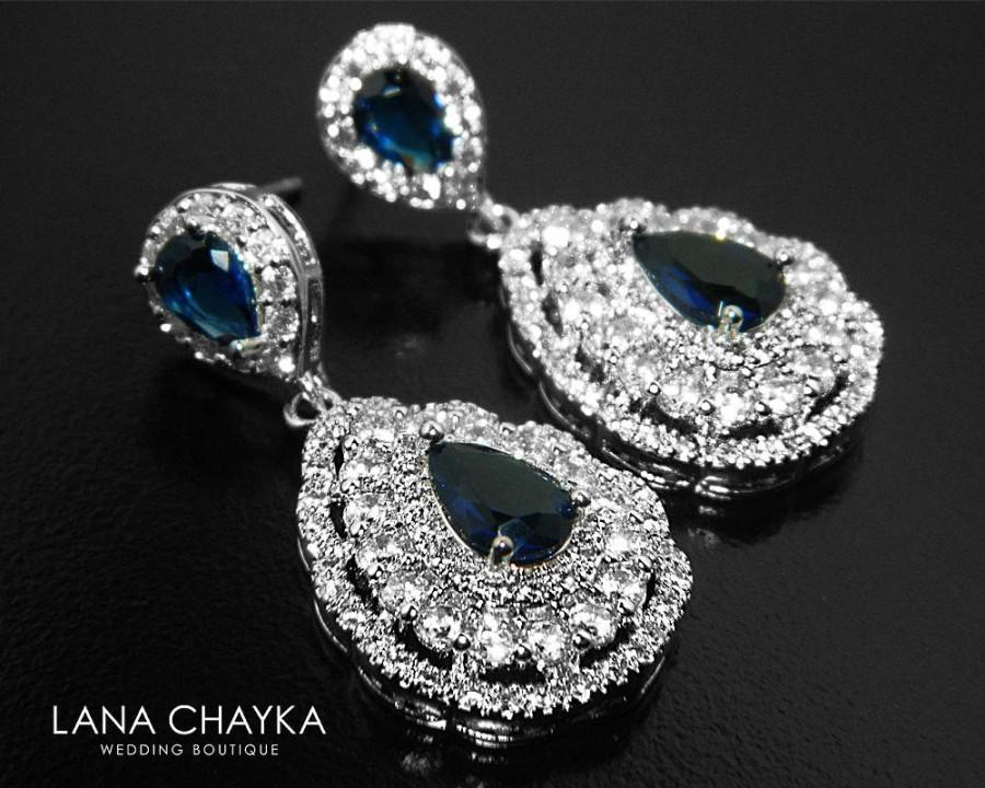 Navy Blue Cz Bridal Earrings Teardrop Crystal Wedding Sapphire Chandelier Sparkly Prom Jewelry 36 90 Usd