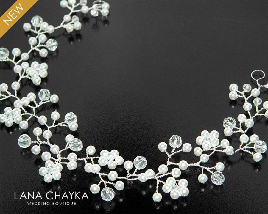 Wedding - Pearl Crystal Bridal Hair Vine, Wedding Hair Piece, Bridal Floral Hair Jewelry, Bridal Crystal Pearl Headpiece, Wedding Pearl Crystal Wreath - $19.00 USD