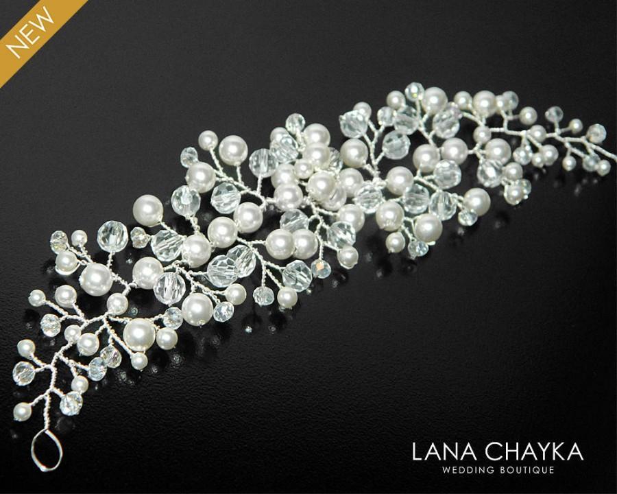 Wedding - Pearl Crystal Bridal Hair Vine, Swarovski White Pearl Crystal Hair Piece, Bridal Floral Hair Jewelry, Bridal Headpiece, Pearl Crystal Wreath - $25.90 USD