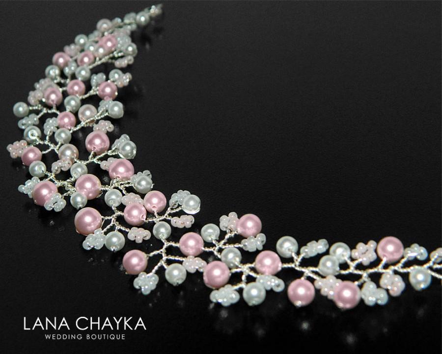 Hochzeit - White Pink Pearl Bridal Hair Vine, Swarovski Rosaline Pearl Hair Piece, Blush Pink White Hair Vine, Bridal Floral Hair Wreath, Hair Jewelry - $23.50 USD