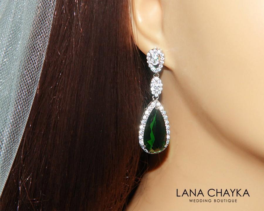 cecf64af9de27 Emerald Crystal Earrings, Green Chandelier Earrings, Emerald Bridal ...