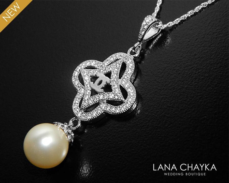Mariage - Pearl CZ Bridal Necklace, Swarovski 10mm Cream Ivory Pearl Necklace, Wedding Pearl Silver Necklace, Bridal Pearl Jewelry, Prom Pearl Jewelry - $28.90 USD