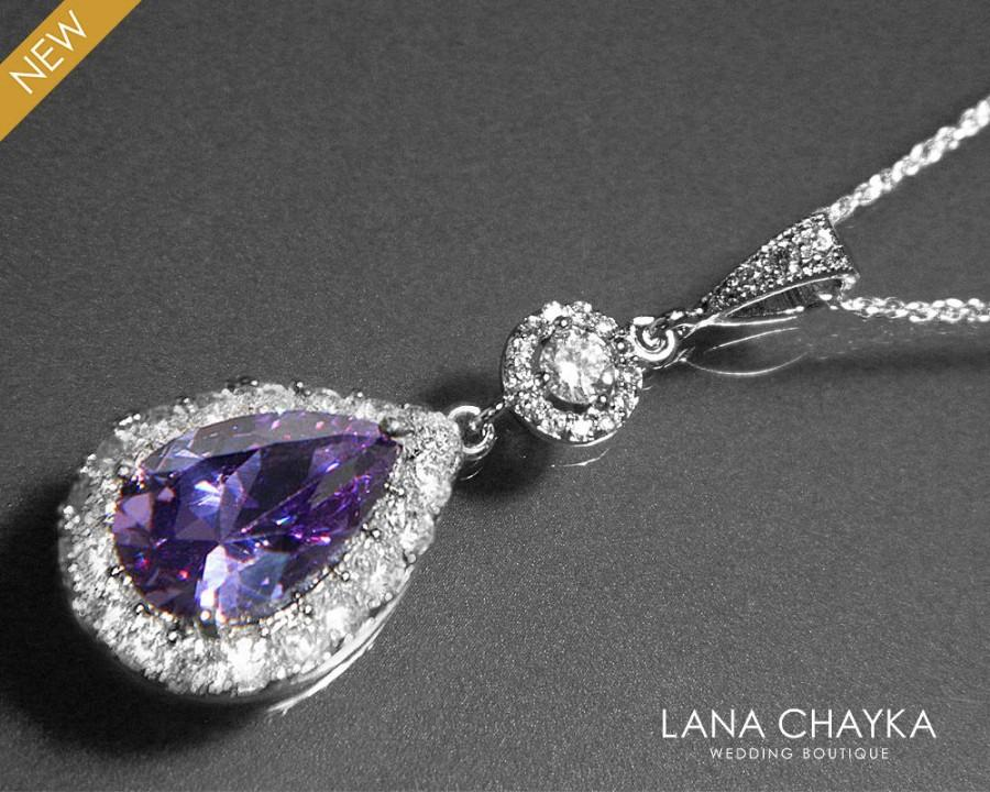 Wedding - Amethyst Cubic Zirconia Bridal Necklace Purple Crystal Silver Necklace Wedding Amethyst Halo Necklace Prom Necklace Bridal Amethyst Jewelry - $32.50 USD