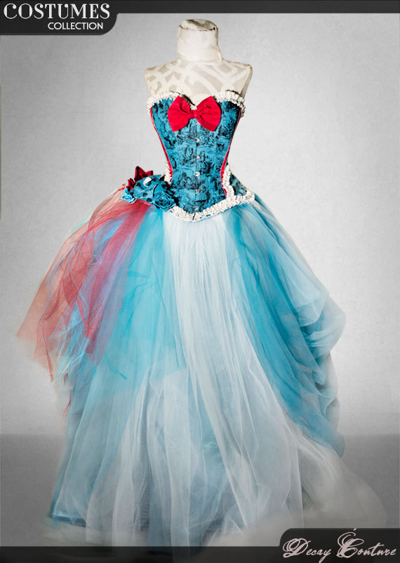 ALICE IN WONDERLAND Wedding Gown, Wedding Dress, Bridal Corset ...