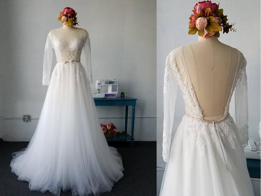 Wedding - Long Sleeves backless beaded lace tulle beach wedding dress, bohemian A-line lace wedding gown, low back boho tulle lace wedding dress W8001