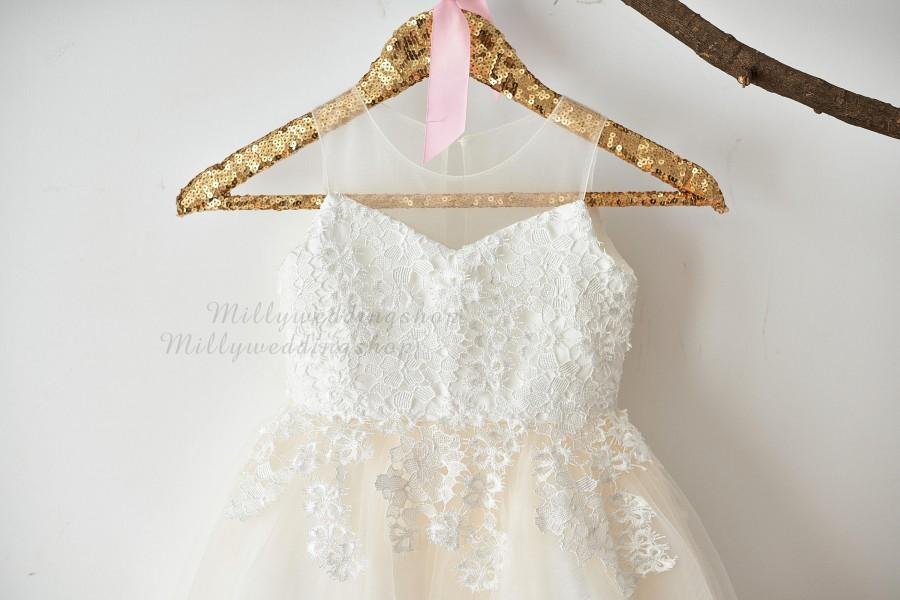 5fbbd49fb15 Illusion Sheer Neck Ivory Lace Champagne Tulle Wedding Flower Girl Dress  M0061