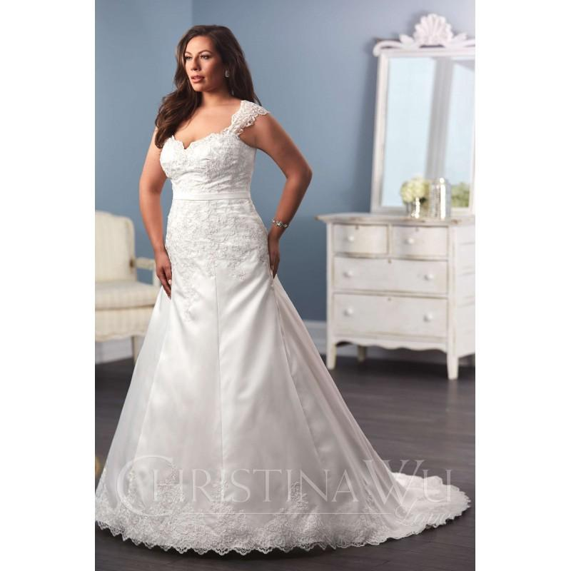 b4ce98f56a Eternity Bride Plus-Size Dresses Style 29286 by Love by Christina Wu -  Ivory White Lace Satin Wedding Dresses - Bridesmaid Dress Online Shop