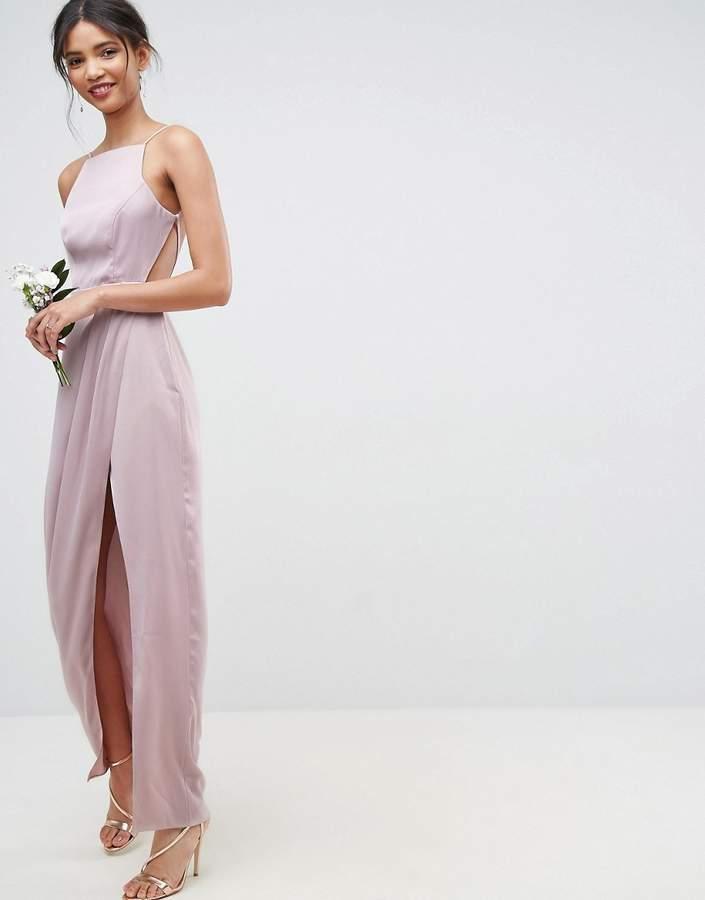 Mariage - ASOS WEDDING Drape Front Strappy Back Maxi Dress