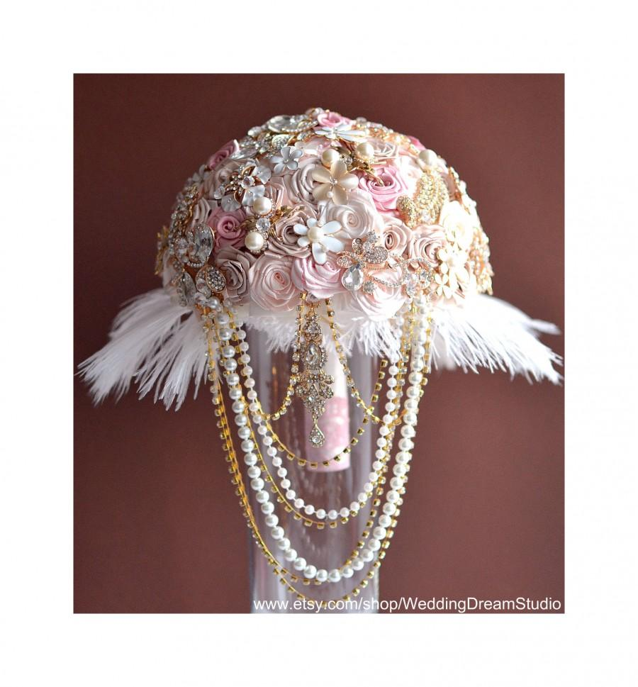 Свадьба - Feather Bouquet Gold Wedding Bouquet Brooch Bouquet Pink Bridal Bouquet Fabric Bouquet Rose Wedding Bouquet Pink Bouquet Bridesmaids Bouquet