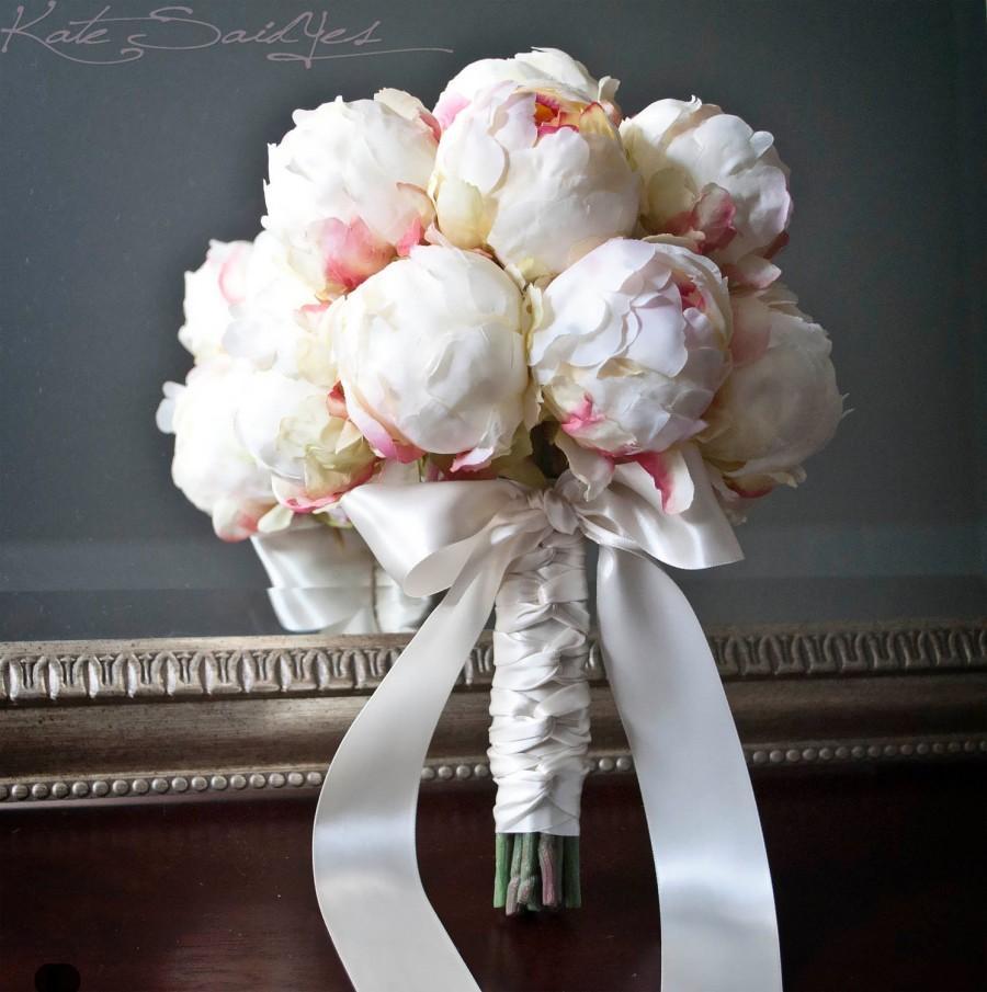Свадьба - Ivory Peony Bud Wedding Bouquet - Peony Wedding Bouquet