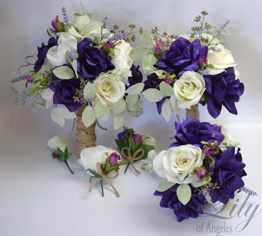 Свадьба - Wedding Bouquet, Bridal Bouquet, Bridesmaid Bouquet, Silk Flower Bouquet, Wedding Flowers, Silk Bouquet, 17 Piece Package, Lily of Angeles