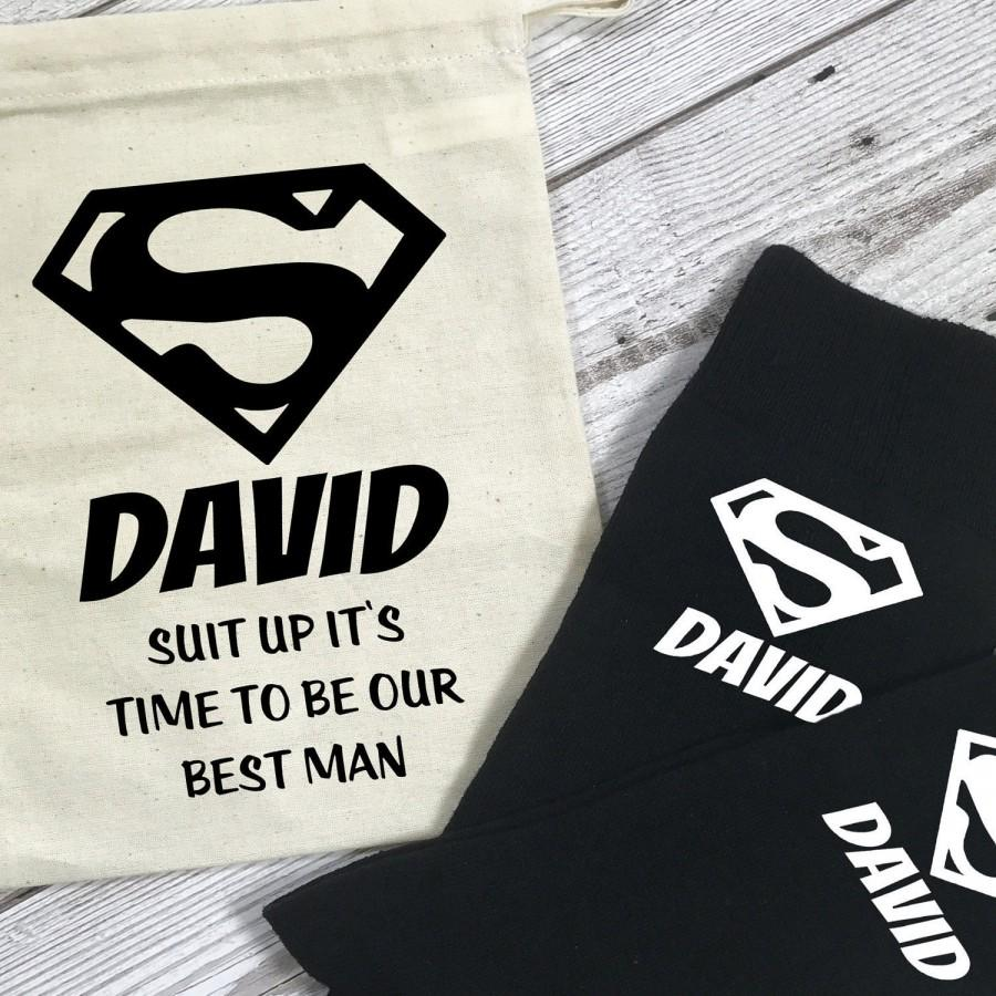 Wedding - Suit Up it's Time to be our Best Man Superhero Personalised Socks and Bag Wedding Morning Gift