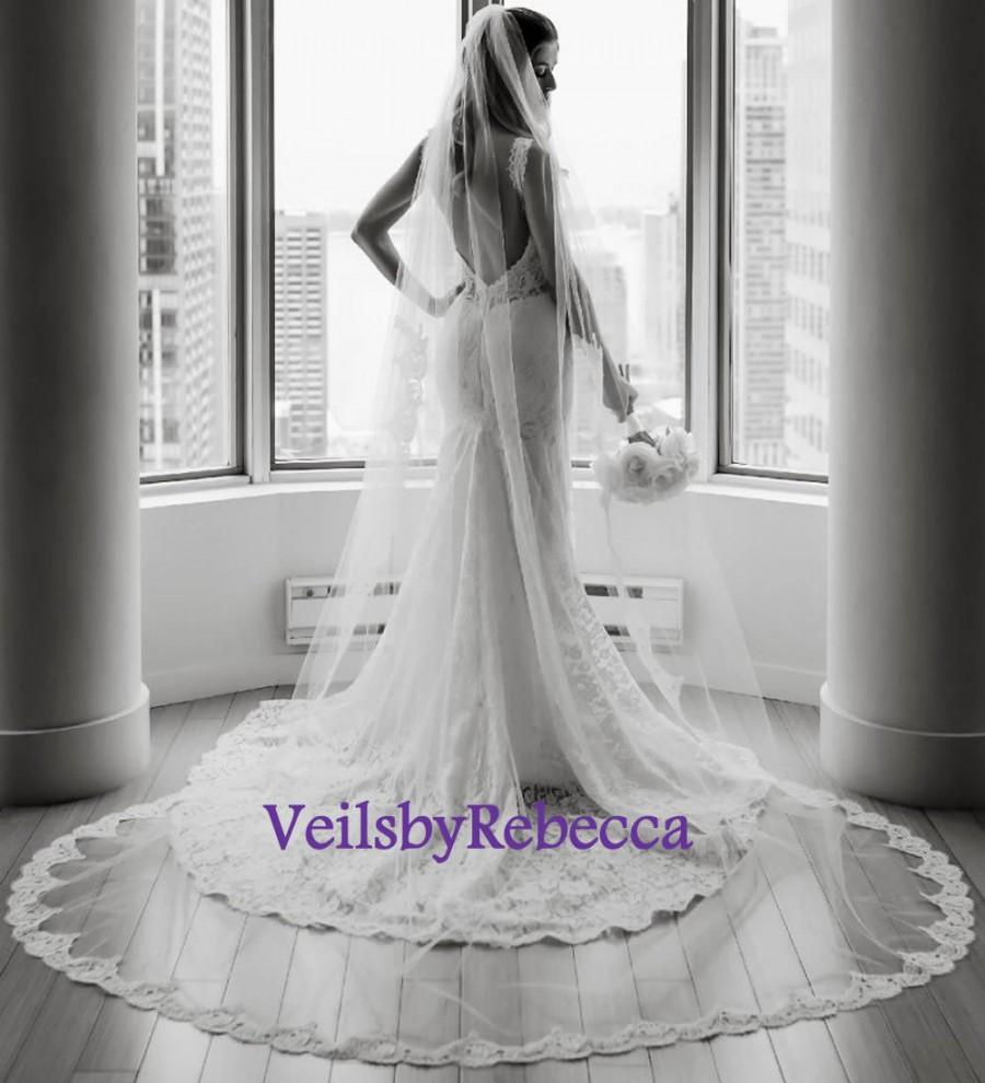 Hochzeit - 1 tier Cathedral lace veil with lace from fingertip/wrist length,Partial lace cathedral wedding veil, long cathedral lace veil V638