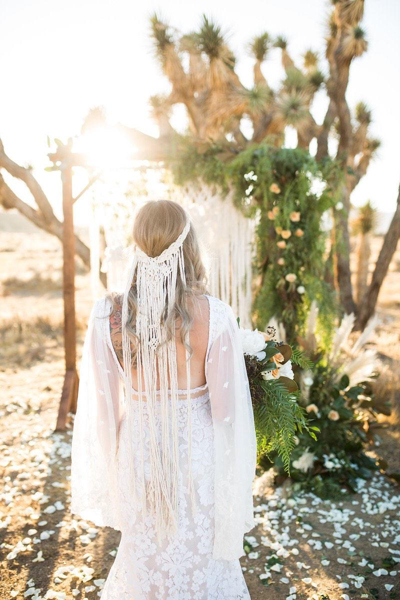 Mariage - Macrame wedding veil, boho wedding veil, wedding headpiece, wedding veil, boho bride