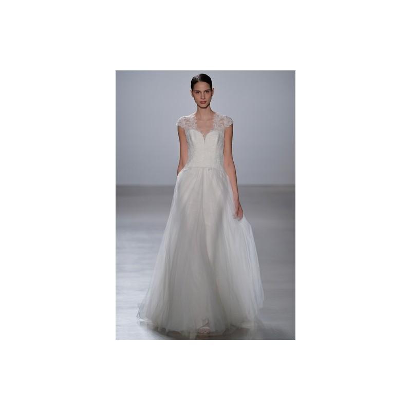 Mariage - Amsale Spring 2016 Wedding Dress 7 - Full Length Amsale Spring 2016 A-Line V-Neck White - Rolierosie One Wedding Store