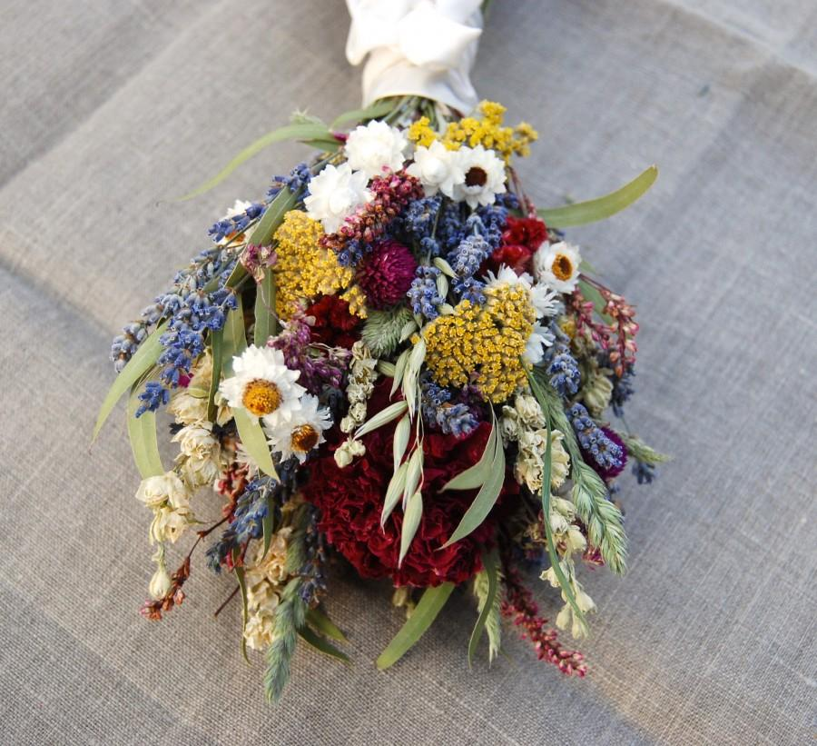Свадьба - Romantic Montana Flower Girl Child Size Posie OR Bridesmaid Adult Size Bouquet Lavender Burgundy Peonies, Dried Flowers, Grasses and Grains