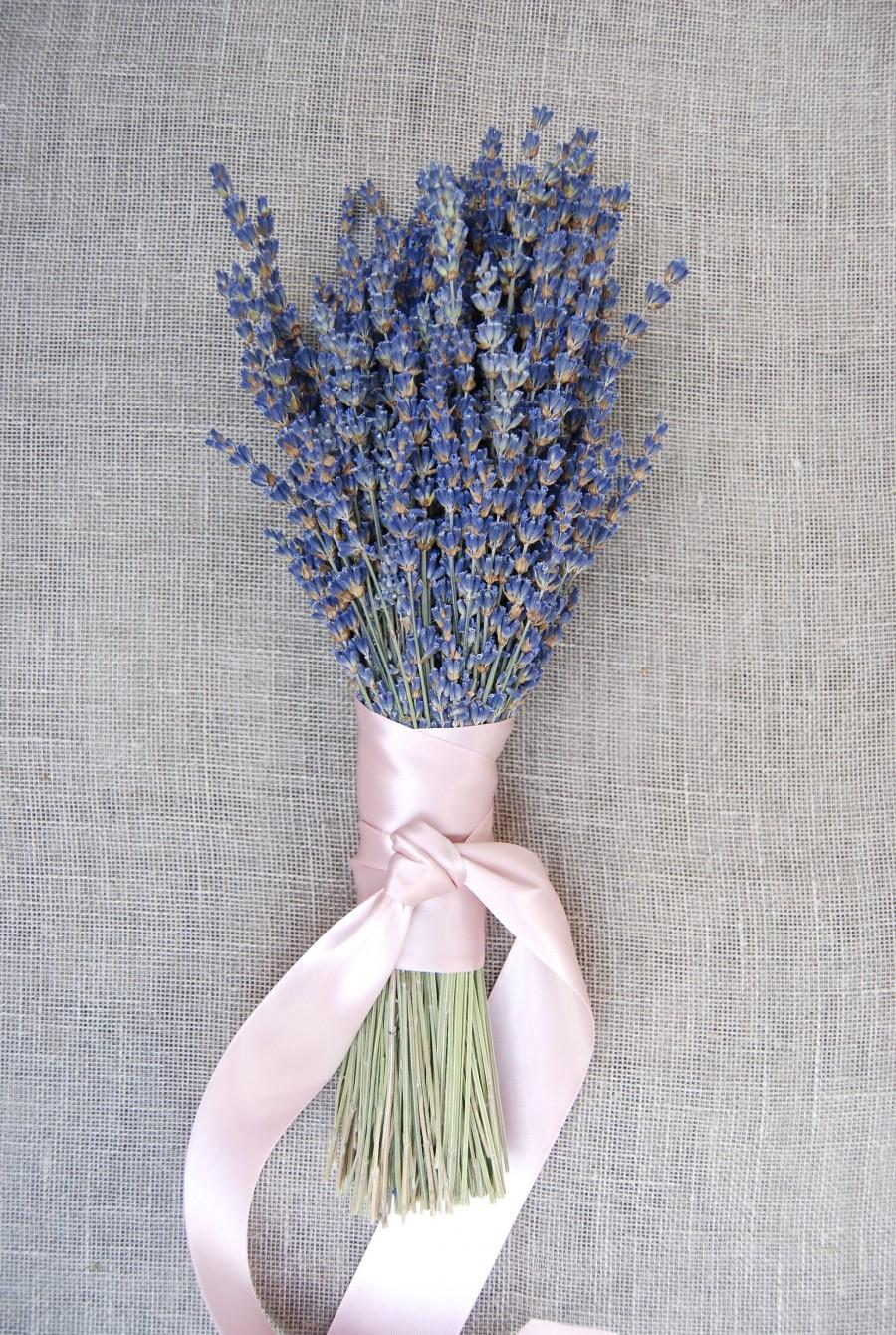 Свадьба - Fancy English Lavender Bouquet with Hand Tied Ribbon in a Love Knot