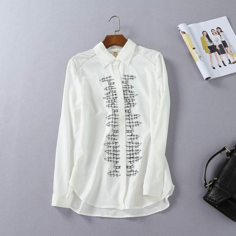 Свадьба - Must-have Simple Attractive Embroidery Slimming Polo Collar Blouse Basics - Discount Fashion in beenono