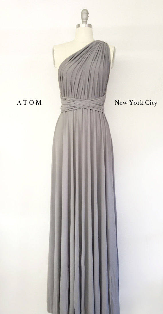 Wedding - Silver Light Grey LONG Maxi Infinity Dress Gown Convertible Formal Multiway Wrap Dress Bridesmaid Dress Evening Dress Toga Dress