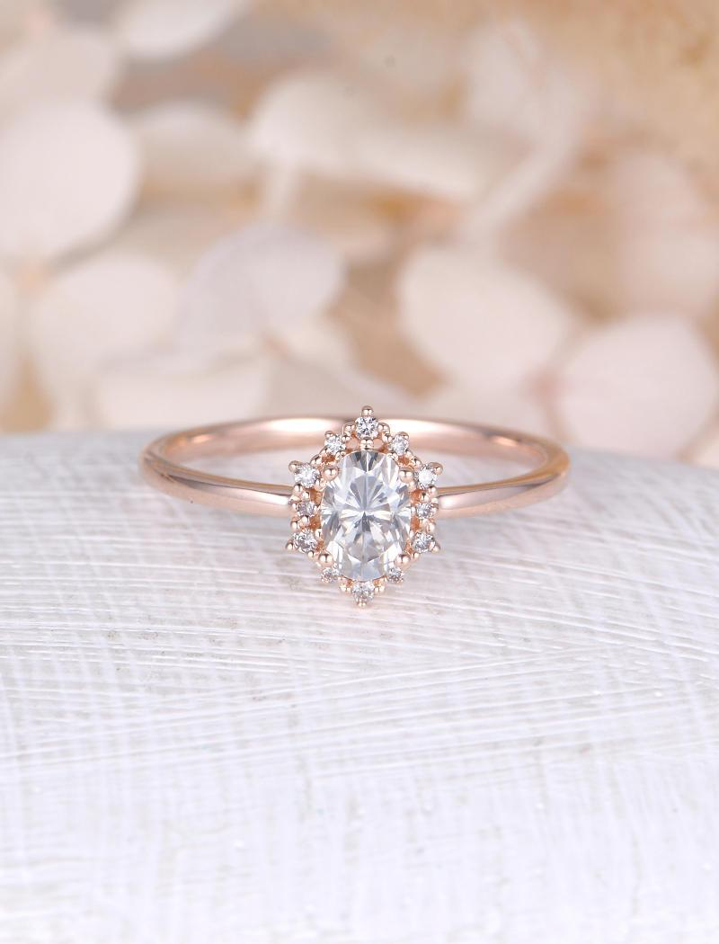 Vintage Engagement Ring Oval Moissanite Rose Gold Diamond Halo Wedding Jewelry Anniversary Valentine's Day Gift For Women: Rose Gold Diamonds Rings Wedding Day At Reisefeber.org