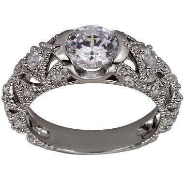 Wedding - Vintage Ring 1 Carat Engagement Rings Art Deco Ring Filigree Ring In 14K White Gold