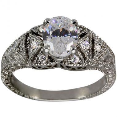 Wedding - Oval Diamond Ring Diamond Engagement Ring 1.25 Carat Center In Art Deco Ring