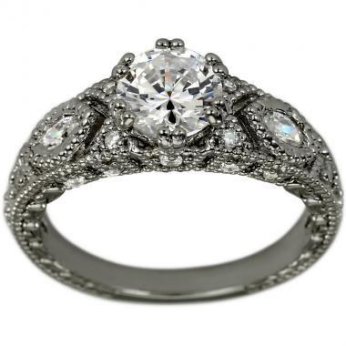 Wedding - Vintage Ring 1 Carat Diamond Engagement Ring Marquise Diamond Accents In 14K White Gold