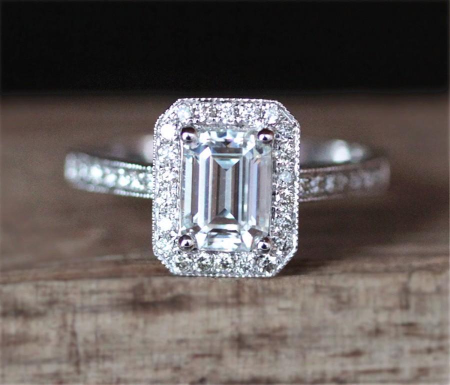 Wedding - Charles&Colvard Moissanite Engagement Ring 5*7mm Emerald Cut Moissanite Ring Halo Diamonds Milgrain Bezel Wedding Ring 14K White Gold Ring