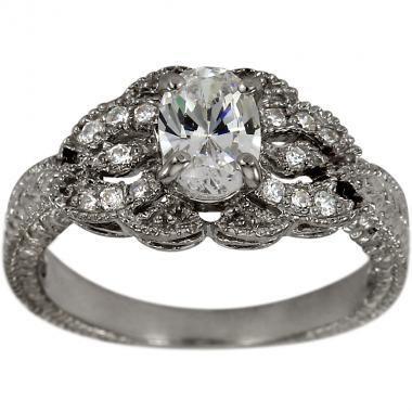 Wedding - Art Deco Diamond Engagement Ring 1ct Oval In Filigree & Milgrain Diamond Ring